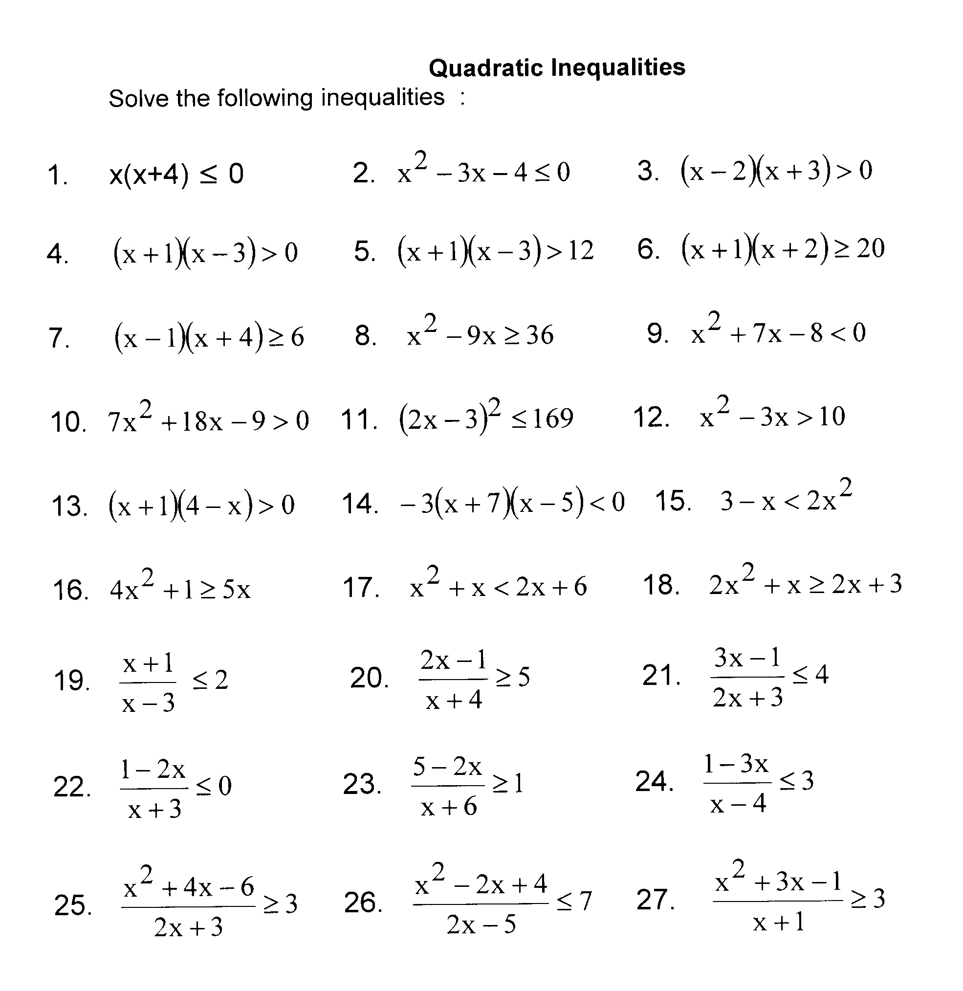 Uncategorized Solving Quadratic Inequalities Worksheet imath grade 11 exercises re solving quadratic inequalities study the following methods to solve and then do problems