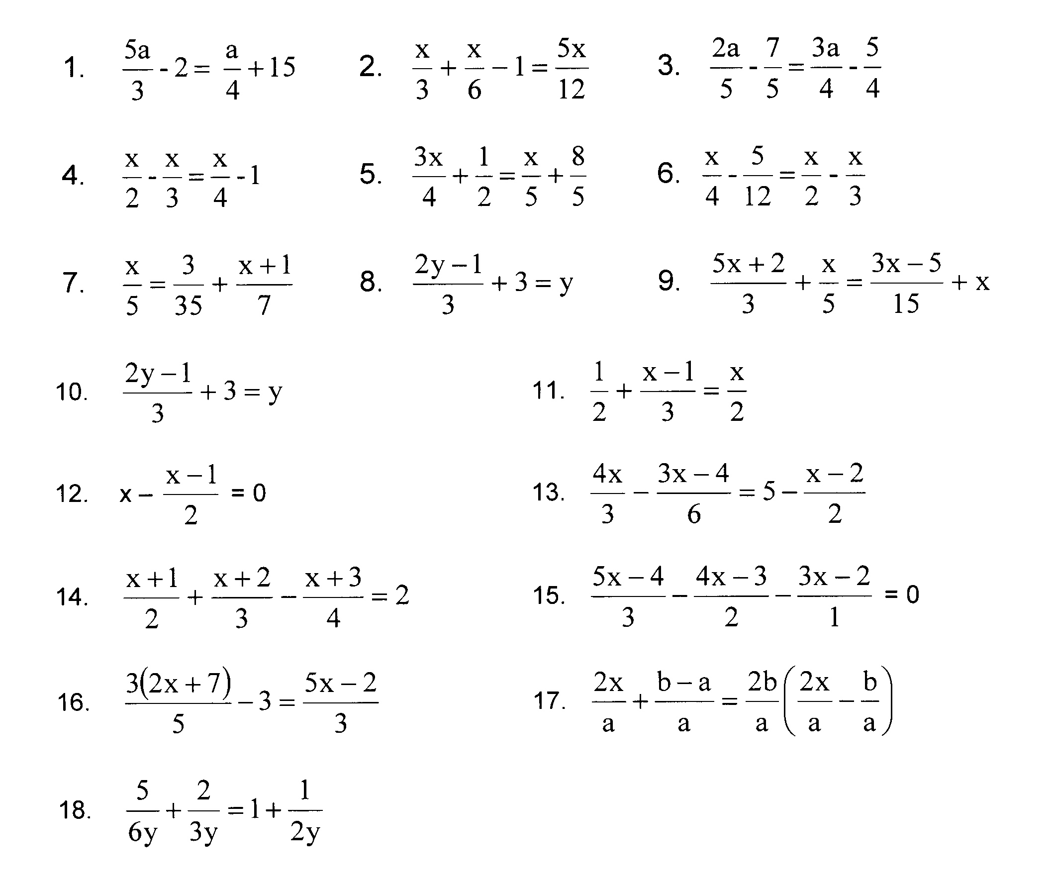Worksheets Algebraic Fractions Worksheet multi step equations with variables on both sides fractions fractions
